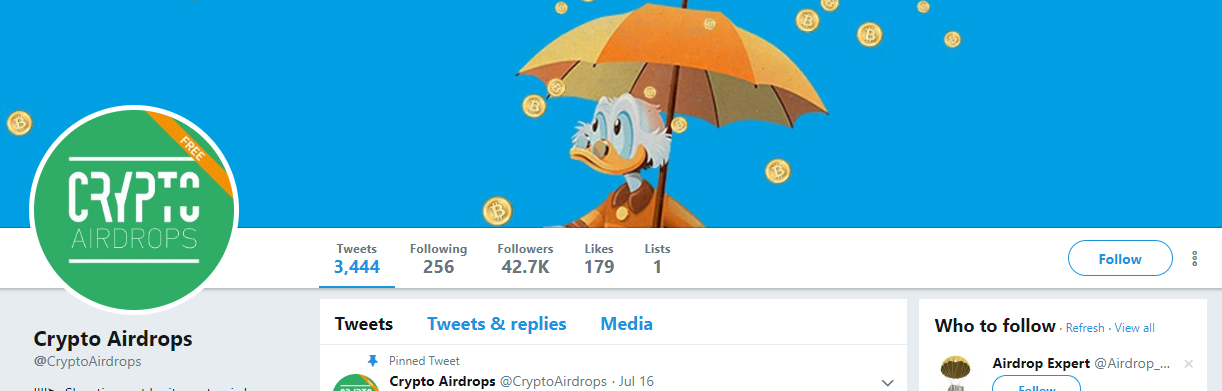 Cryptoairdrops twitter