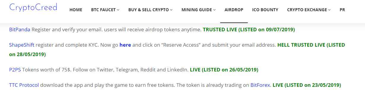 Cryptocreed airdrop