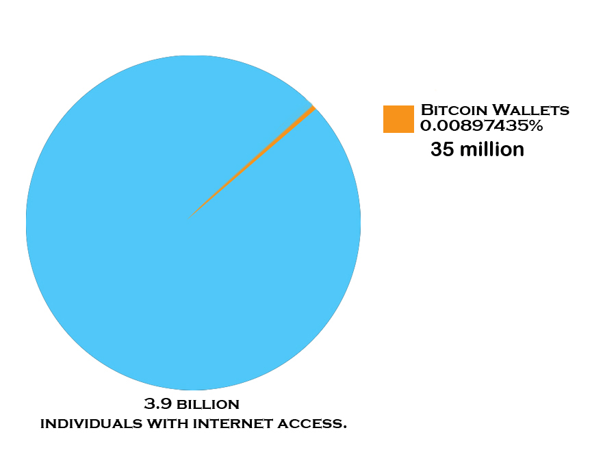 Pie Chart showing Bitcoin wallets across the globe