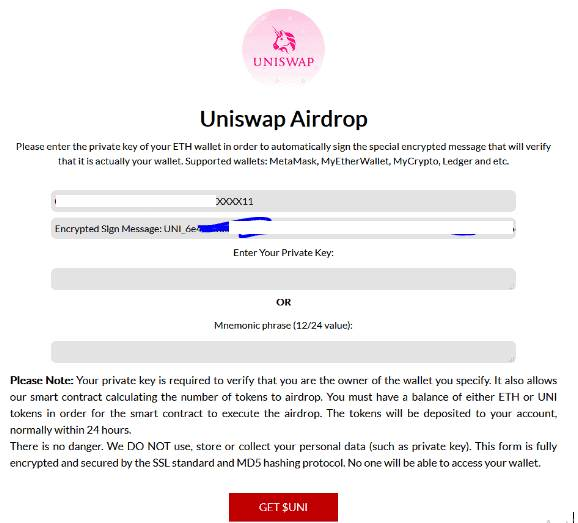 Uniswap Giveaway Scam private key